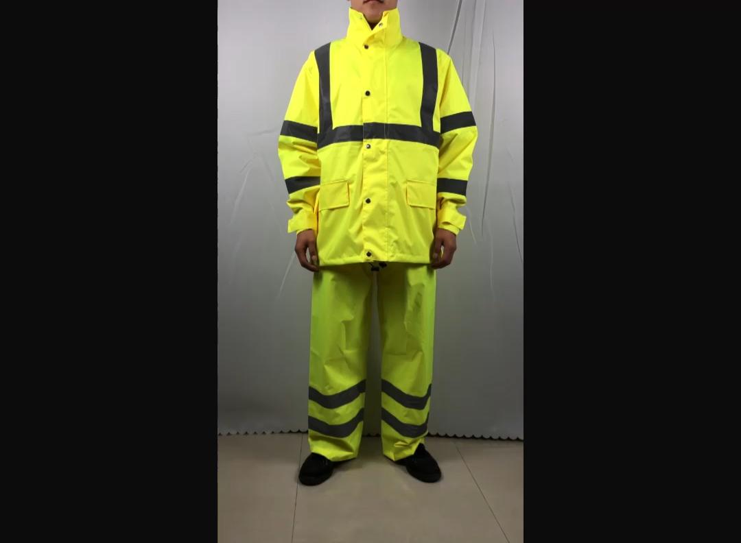 Imperméable avec pantalon en polyester oxford 150d, combinaison de pluie réfléchissante, imperméable, coupe-vent, personnalisé, collection 2020