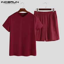 INCERUN пижамы домашний костюм сексуальные пижамы с коротким рукавом пижамный комплект 2020 мужские ночные рубашки удобные v-образным вырезом од...(Китай)