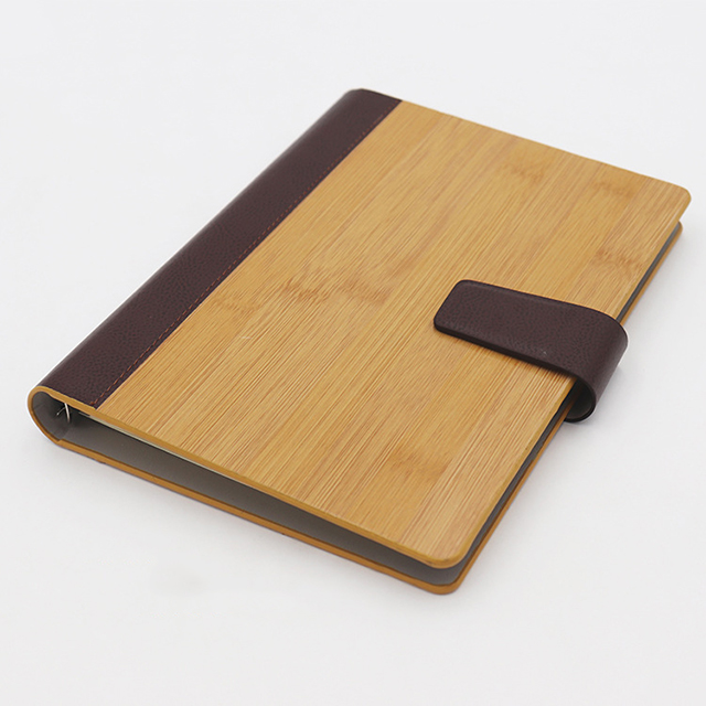 Accept custom personalised leather edge with wooden bamboo cover high-end notebook