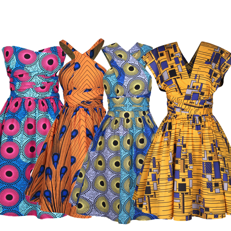 अलग शैली Dashiki पोशाक महिलाओं छोटी पोशाक अफ्रीकी मुद्रित बंद कंधे वी गर्दन पोशाक मिनी