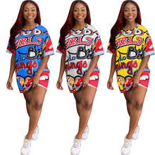 2020new Zomer Vrouwen Casual Strand <span class=keywords><strong>Jurk</strong></span> Plus Size Cartoon Print Lady Leuke Midi Losse Kawaii Party Mini <span class=keywords><strong>Jurk</strong></span>