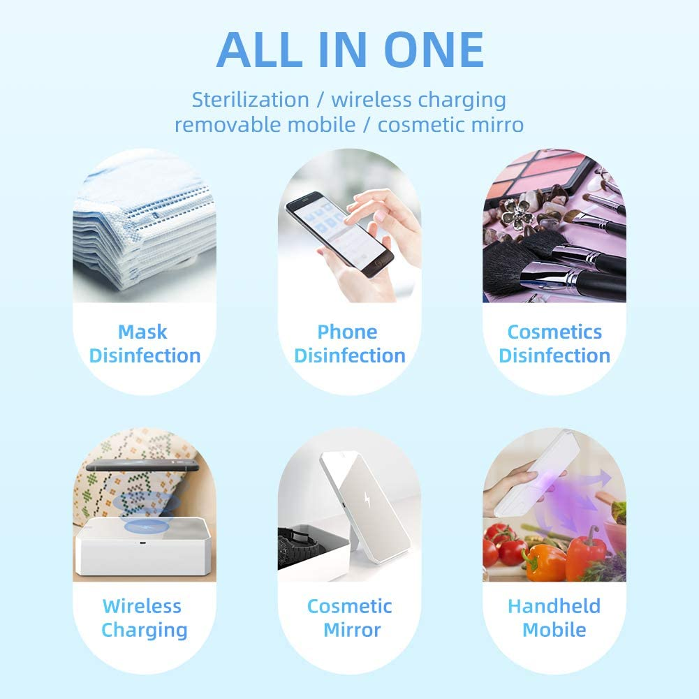 portable uvc esterilizadore lamp sanitizer wireless charging holder uv led light ultraviolet sterilizer sterilization equipments