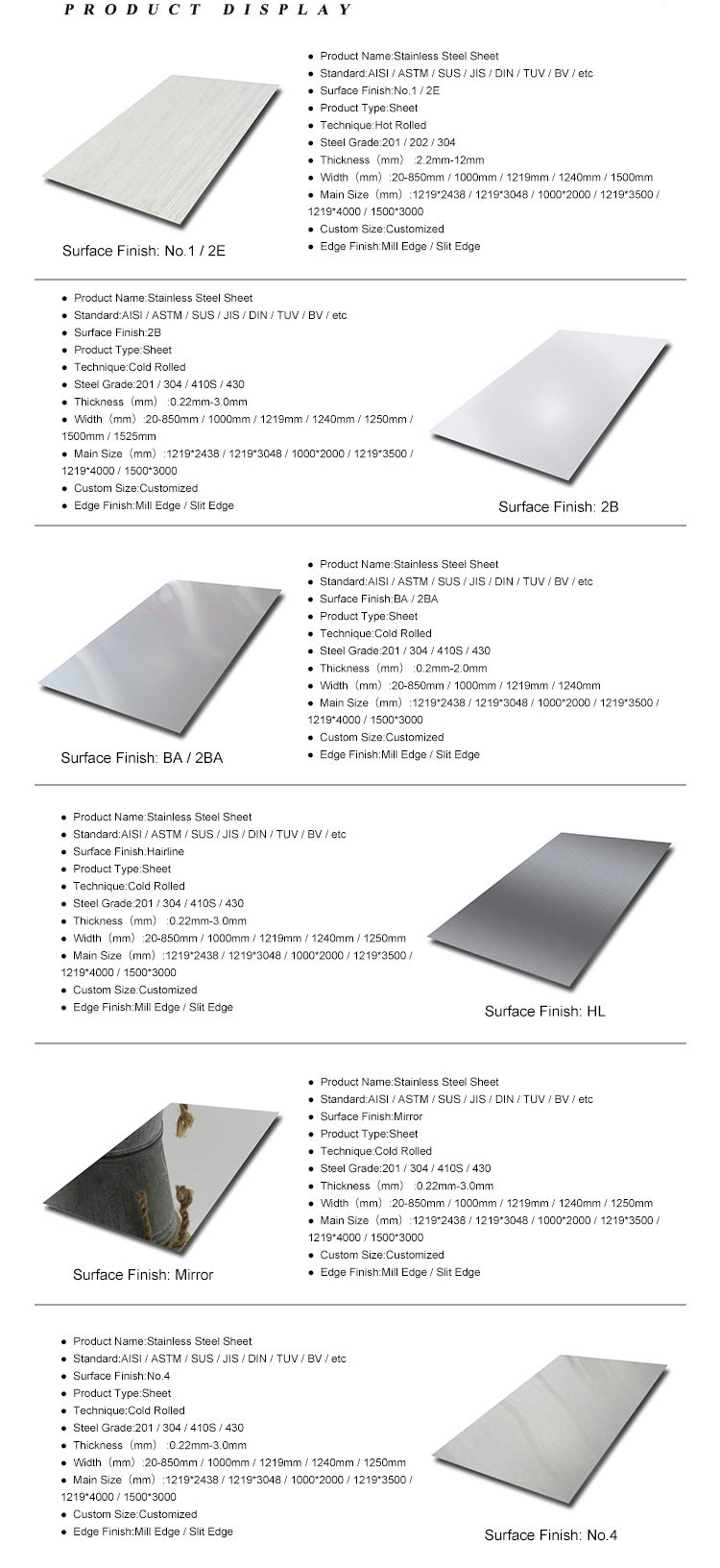 SS Plate 0.3mm 1mm 3mm AISI 2B BA 430 321 201 316 316L 304L 304 4x8 Stainless Steel Sheet