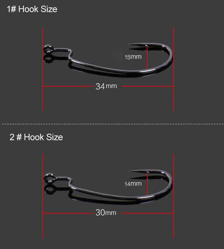 Accessories carbon steel red nickel worm crank hook set carp saltwater sea fishing hooks