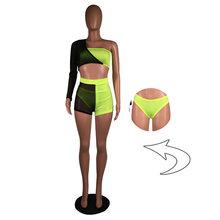 Сексуальные Клубные наряды, Женский комплект из 3 предметов, летняя праздничная одежда, сетчатый топ на одно плечо со стразами и шорты, компл...(Китай)