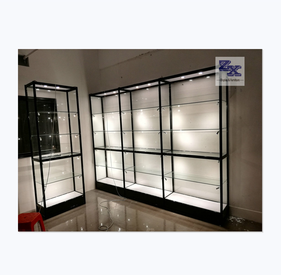Guangzhou factory price gift shop display furniture tempered glass display stand display counter with LED light