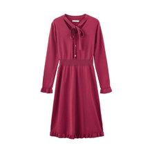 Женское трикотажное платье с длинным рукавом, платье в стиле ретро с цветочным принтом, поясом и поясом, inman, весна 2020(Китай)