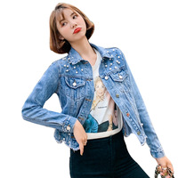Women's None-stretch denim Jacket,women's destruction denim jacket,women's denim jacket with rhinestone