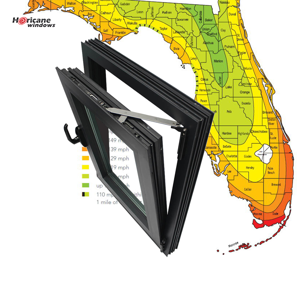 Florida Miami-Dade Hurricane Approved aluminium tilt and turn impact windows