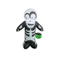 Inflatable LED lighted Halloween skeleton man for yard decoration