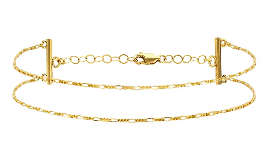 Trending unique gold plated figaro chain double necklace jewelry