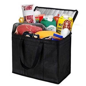 Grocery food delivery extra large insulated non woven tote thermal wine bag