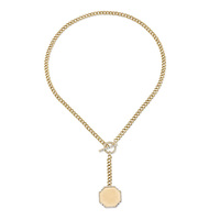 "Designer jewelry gold plated octagon ""y"" link chain lariat necklaces"