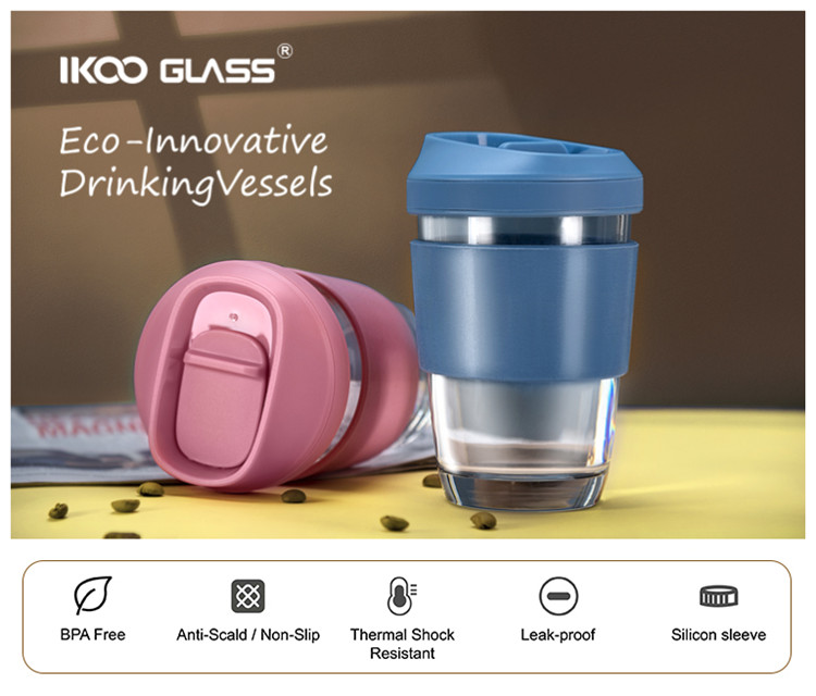 IKOO GLASS Branded pink glass Coffee Cup with lid and silicon sleeve