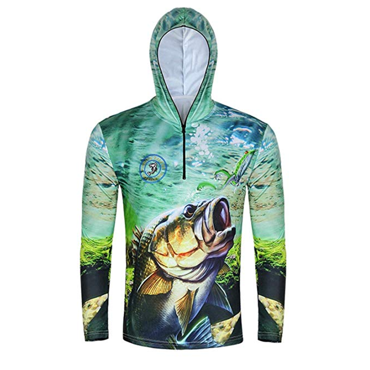Quick Dry Long Sleeve Custom Design Your Own Performance Fishing Shirt With Hood
