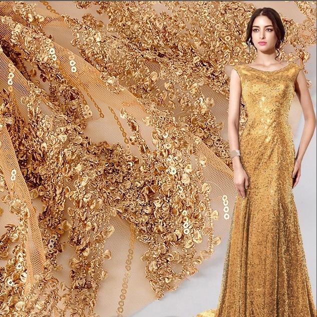 Nuovo design top end francese oro paillettes fiore di pietra ricamato in tulle tessuto di pizzo