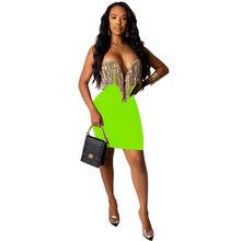 Сексуальное мини-платье с блестками и кисточками без бретелек, женское элегантное платье без рукавов с глубоким v-образным вырезом, вечерни...(Китай)