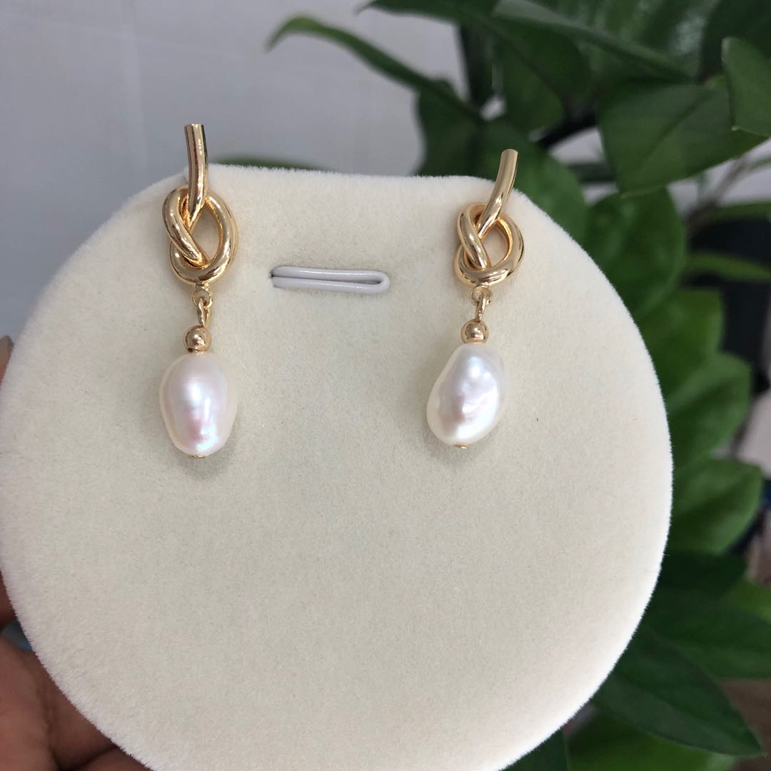 18K Gold plated S925 Sterling Silver <strong>Pearl</strong> <strong>Earrings</strong> Baroque Genuine FreshWater <strong>Pearl</strong> Hoop <strong>Earrings</strong> For Women