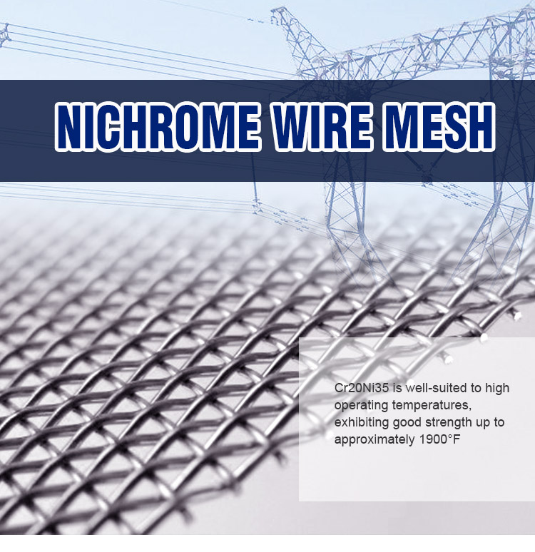 High temperature resistant 40 mesh plain weave Cr15Ni60 nichrome wire mesh