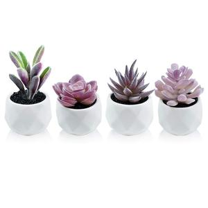 Artificial Plants Desk Succulents Indoor Decor Plants in White Potted