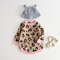 Spring and Fall Korean baby romper long sleeve Leopard printing knitted cotton pullover sweater baby girl romper