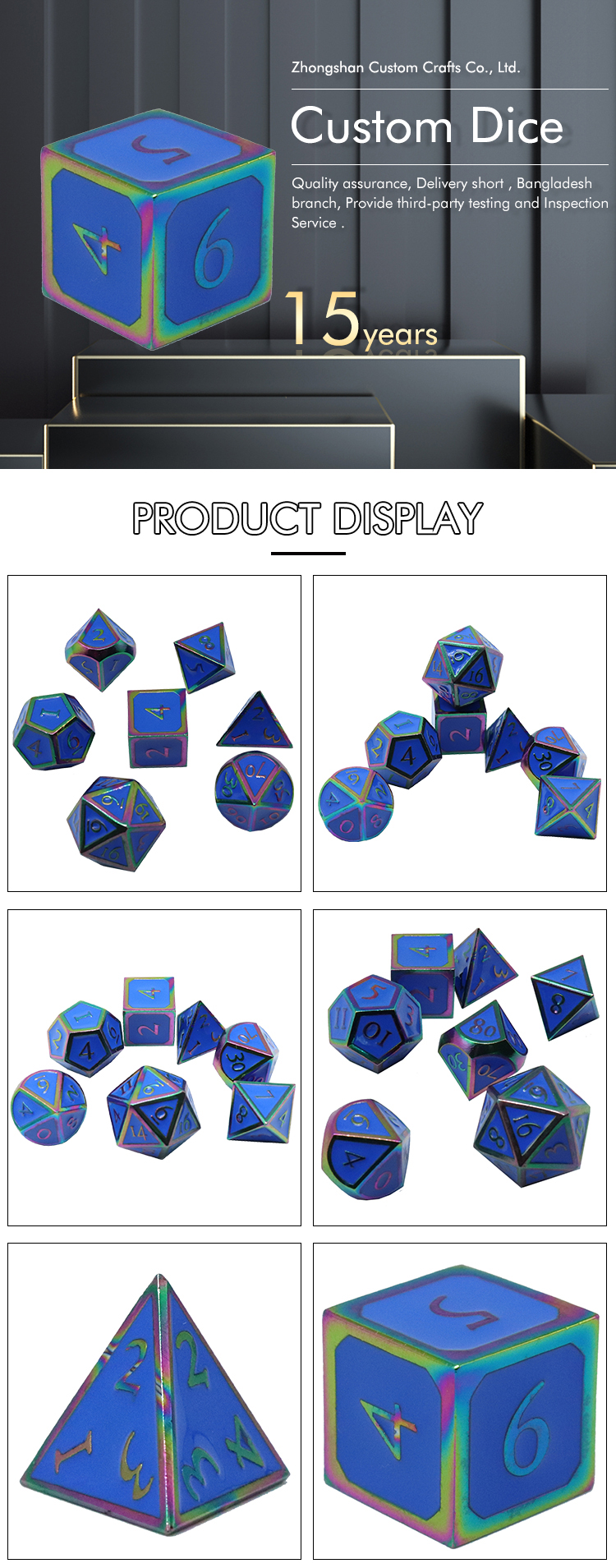 professional manufacturers to customize The most modern High end souvenir metal big dice