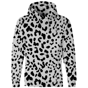 Wholesale Woman Winter Big Fashion Black and white Sublimation Leopard Women's Pullover Long Sleeve Hoodies