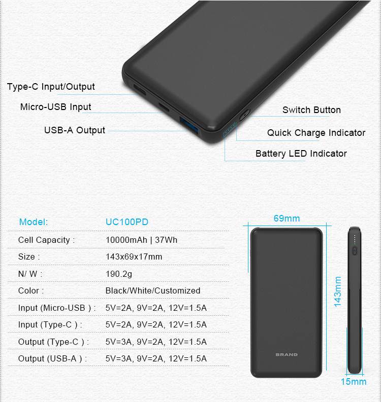 18W Quick Charge 3.0 USB C PD Power Bank 10000mAh Type C PowerBank