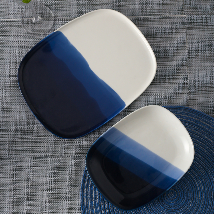 Modern style restaurant wedding used porcelain charger plates white and blue glazed ceramic rectangle plate for serving