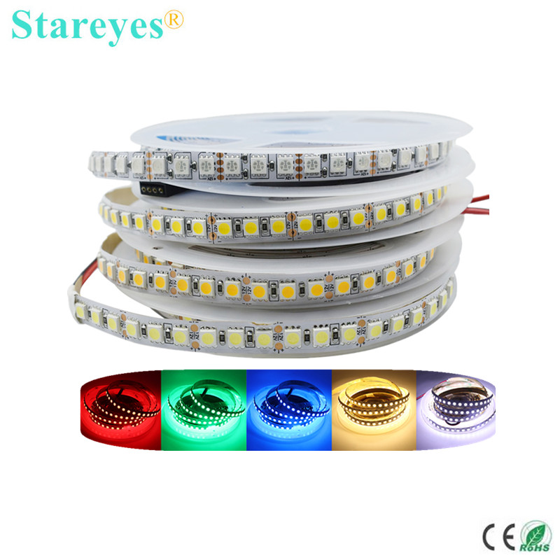 Free shipping 100 Pcs SMD 5050 120 LED 5m DC12V RGB Ice blue LED Strip Light IP20 IP65 IP67 Waterproof Flexible LED Tape Ribbon