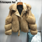 Leather Sheepskin Jackets Fur Coat Camel Fashion Real Fox Fur Motorcycle Leather Fur Coat Sheepskin Women Winter Jackets And Coats