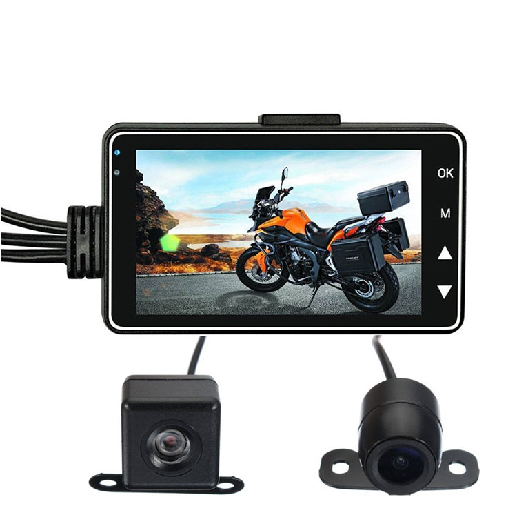 New Arriving 3 Inch 140 Degree 720P Dual Lens DVR Waterproof HD Video Dash Motorcycle Camera Rear View Camera for Motorcycle