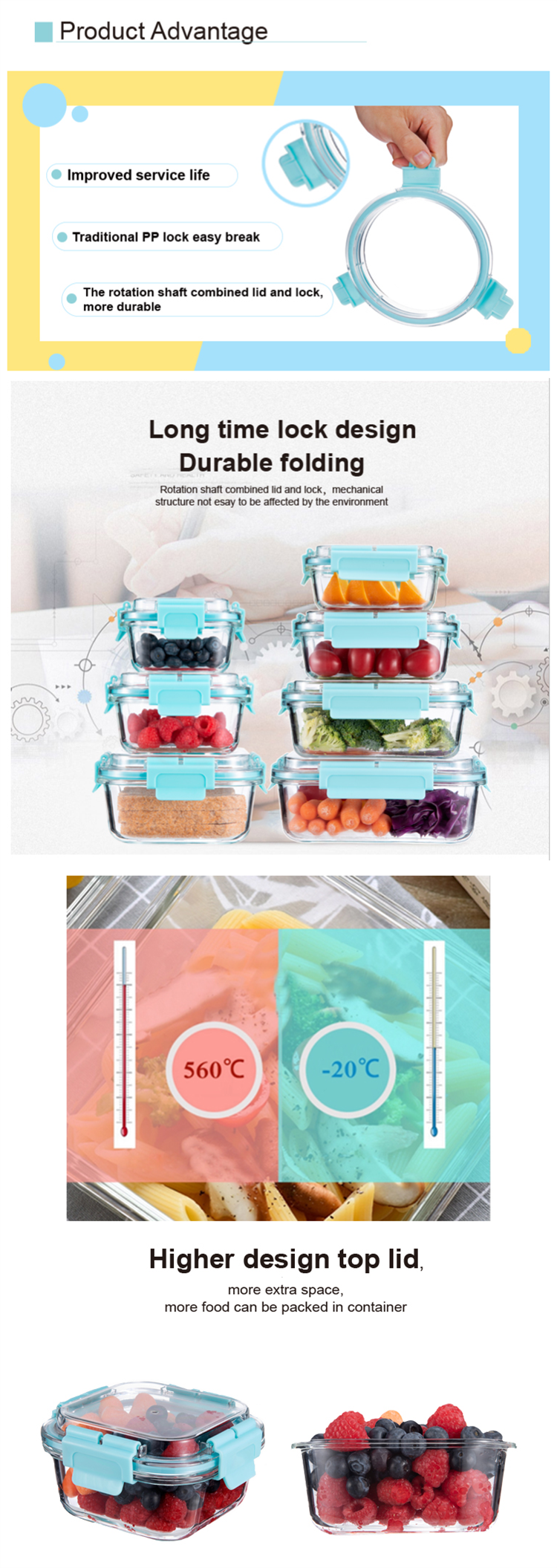 Oven and microwave safe food containers 9pack glass lunch box with removable lid