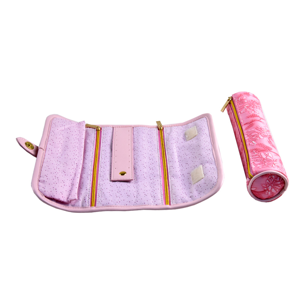 Custom portable travel embroidery leather jewelry storaging roll bag