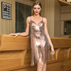 Women Sexy Lady Strapless Camisole Fringe Glitter Gold Club Party Porm Dress