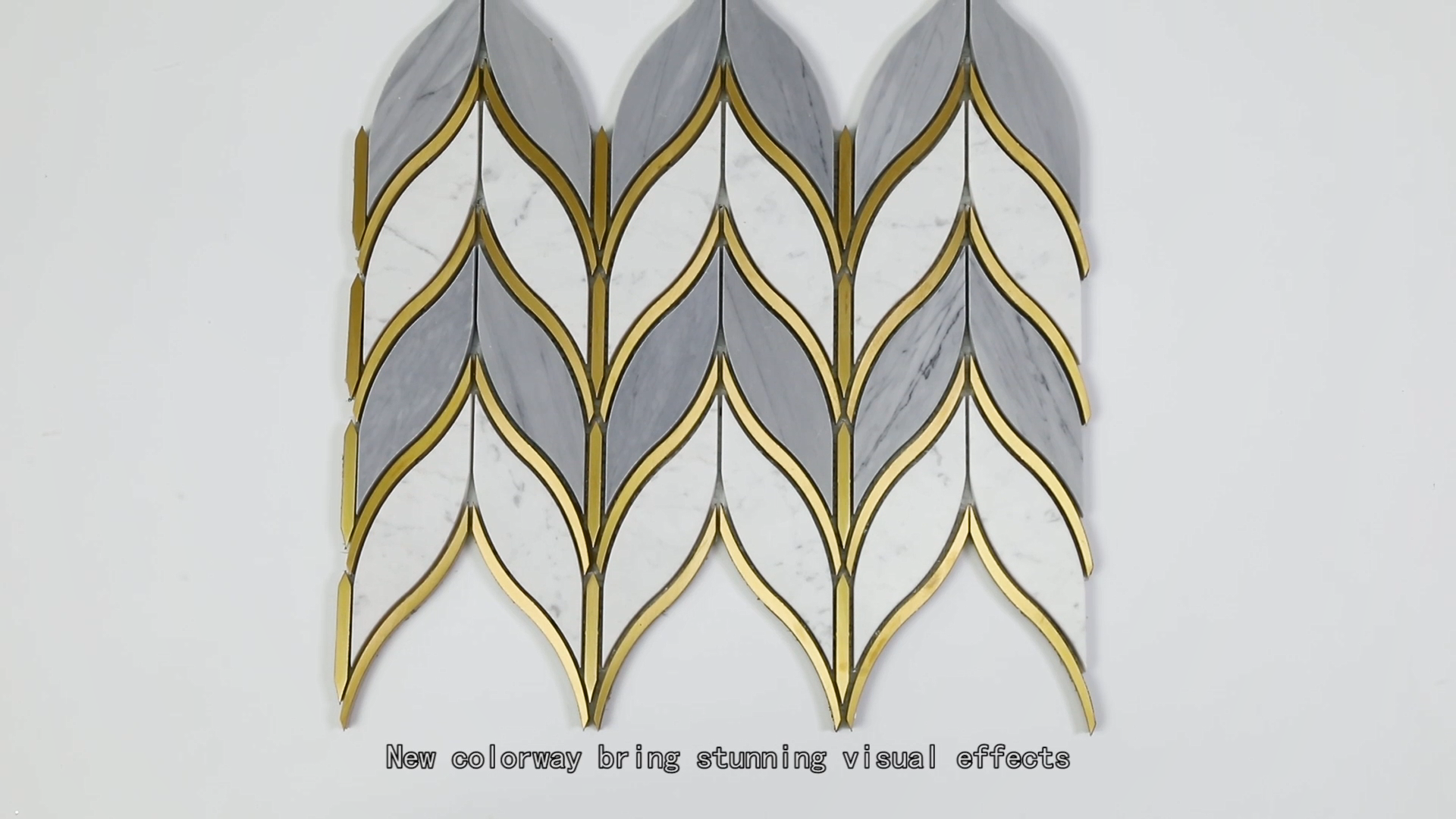 Lá Hình Máy Bay Phản Lực Nước Ý Statuario Hỗn Hợp Xám Đá Cẩm Thạch Và Đồng Vàng Mosaic Tile Waterjet Mosaic Tile