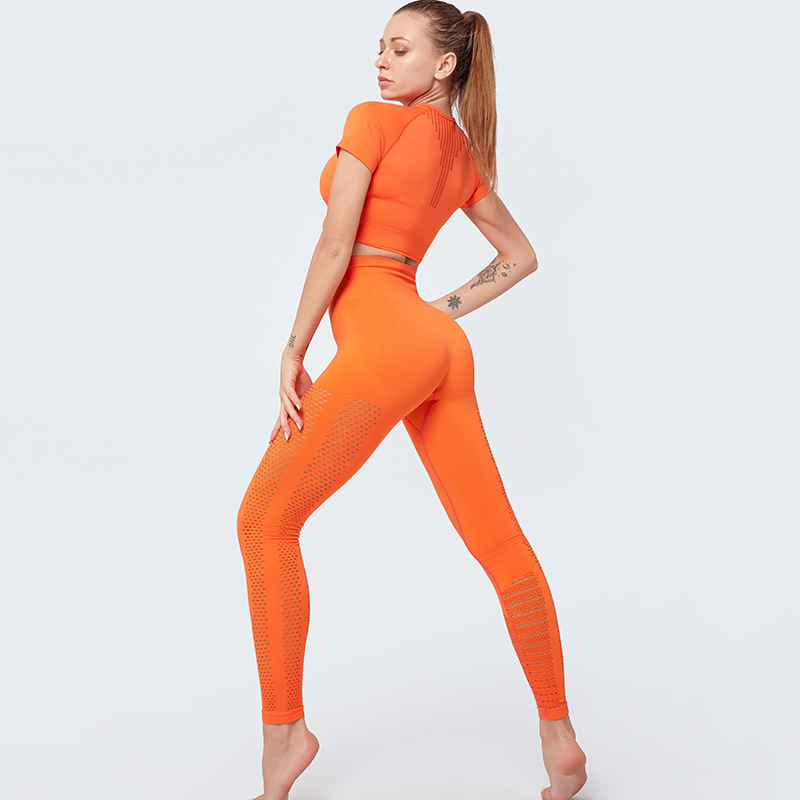 Hot Selling Women Seamless Sets Short Sleeve Crop Top Push Up Leggings  Athletic Wear 2 Piece Workout Sets
