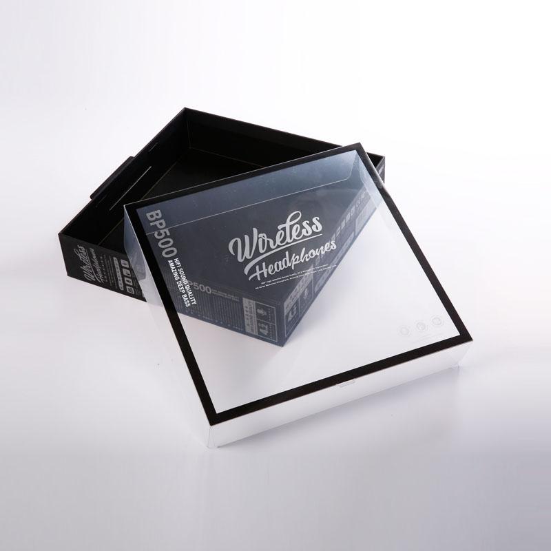 2020 fabricante de embalagens de papelão especial preto para o conjunto de fone de ouvido sem fio eletrônica caixa de janela transparente com logotipo personalizado
