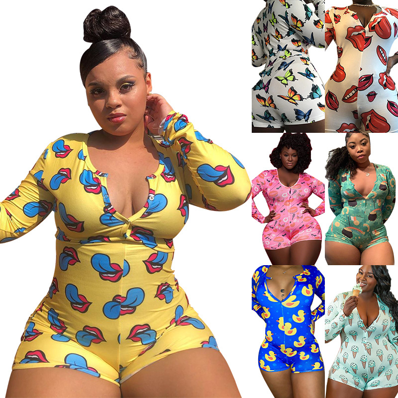 2020 Autumn Fall Clothing for Womens Lingerie Pijamas Plus Size Underwear Jumpsuit Women Clothing