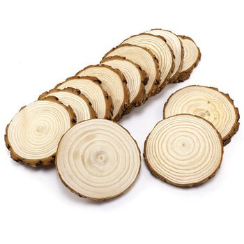 Christmas ornaments DIY blank wooden arts crafts supplies wholesale natural round circles unfinished pine wood slices