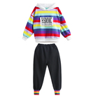 wholesale 2019 cheap fashion china kids girls clothes clothing stripe hoodies and pants