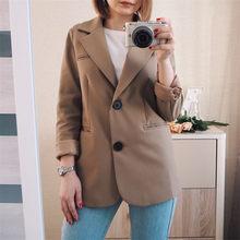 Sungtin новый весенний женский пиджак, повседневный пиджак цвета хаки для работы, модный офисный пиджак с карманами и длинным рукавом, облегающ...(Китай)