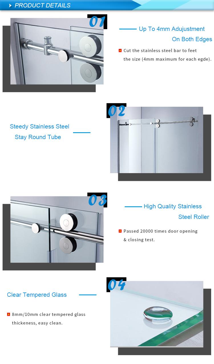 2 Handel Sizes Barn Frameless Bypass Gold Glass Sliding Customized Shower Doors