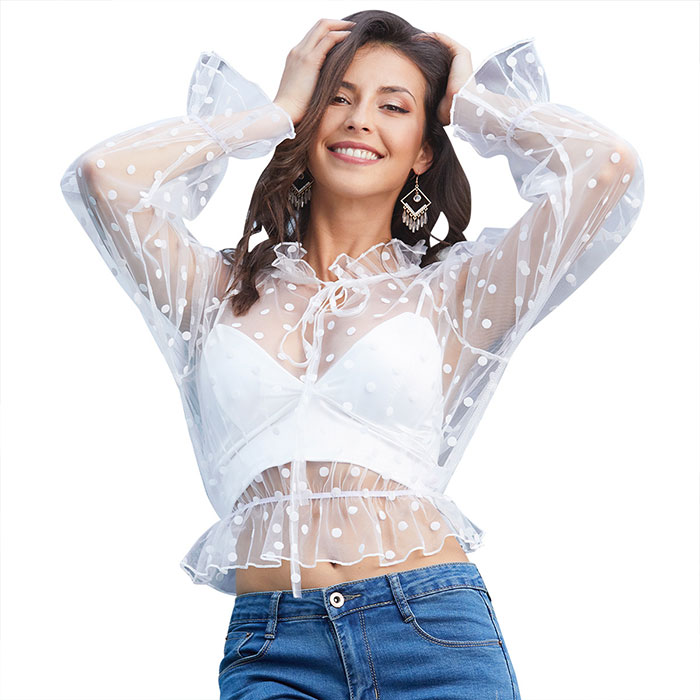 New wooden ear straps V-neck waist long sleeved White dot perspective gauze <strong>blouse</strong>