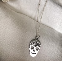 Inspire jewelry Halloween Punk Jewelry PVD Stainless Steel Mexican Sugar Skull Charm Necklace for Women and men's fashion design