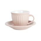 Beige color embossed flower ceramic tea cup with color handle