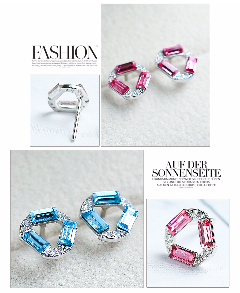 F.ZENI Jewelry Manufacturer 925 Silver Crystal Stone Wholesale Custom Name Hoop Earrings