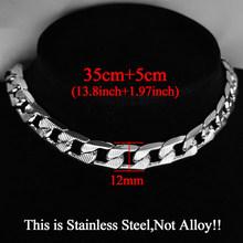 Хип-хоп, кубинское колье-чокер с цепочкой, массивное ожерелье из нержавеющей стали серебристого цвета с массивной цепочкой, 35 + 5 см(Китай)