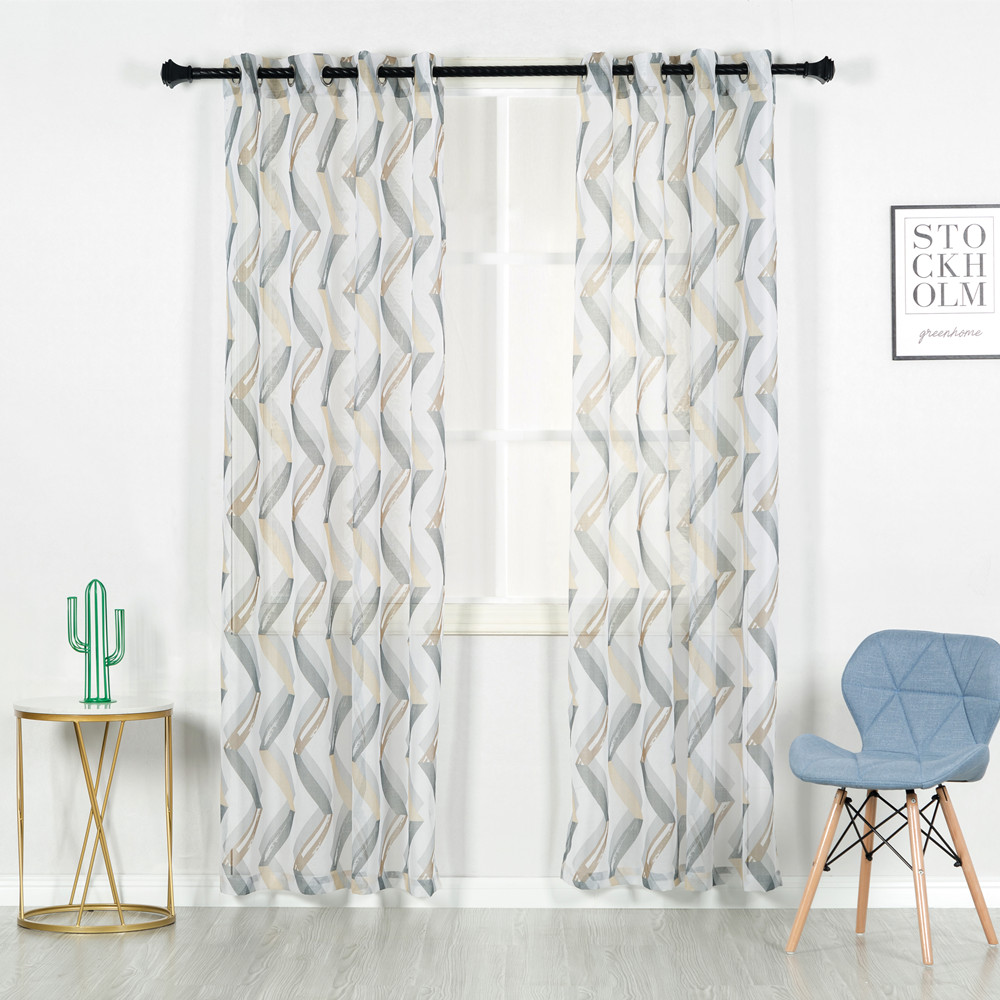 Geometric grommet living room printed sheer curtain window european curtains
