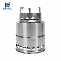 HOMFUL Outdoor Portable Stainless Steel Wood Stove Camping Stove